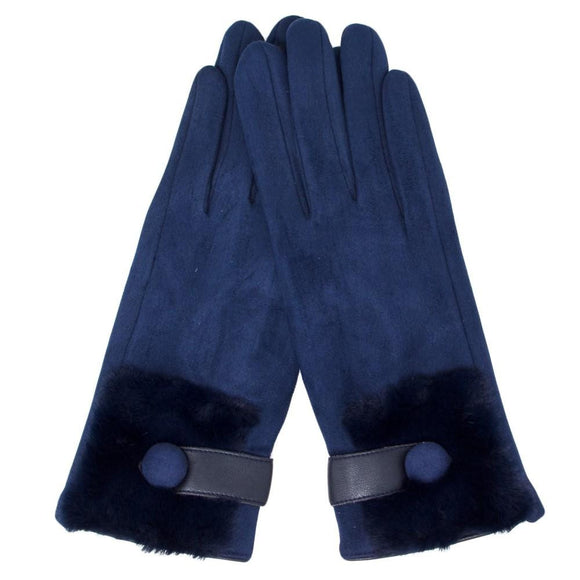 Navy Gloves with Fur - Pink Julep Boutique
