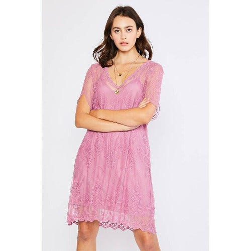V-Neck Embroidered Shift Dress - Pink Julep Boutique