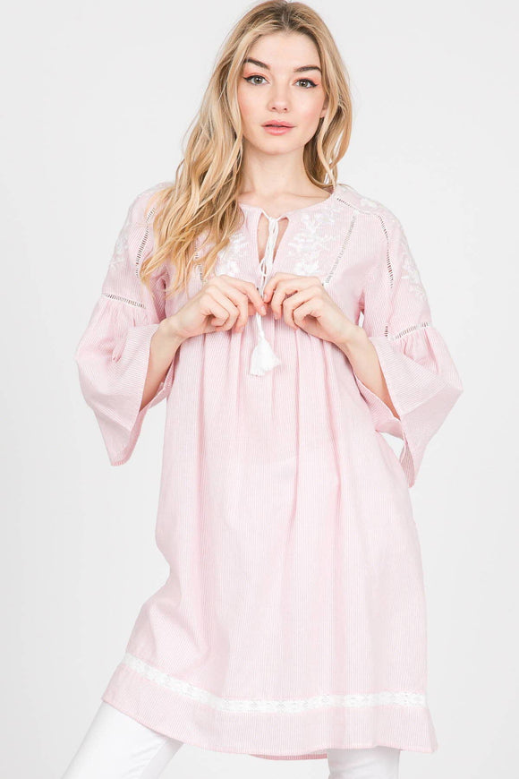 Veveret - Woven Tunic Top - Pink Julep Boutique