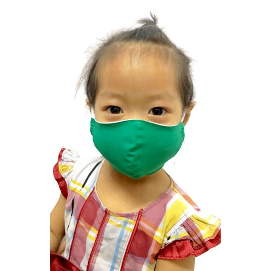 Child Age 2-4 - Reusable Green Face Mask 100% Cotton In stock - Pink Julep Boutique