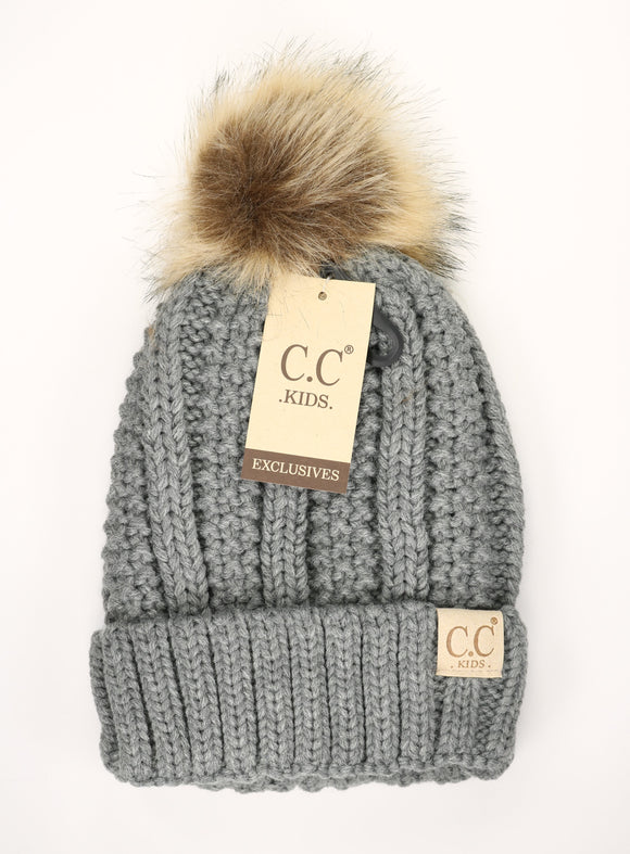CC Kid's Knit Fur Pom Beanie in Grey - Pink Julep Boutique