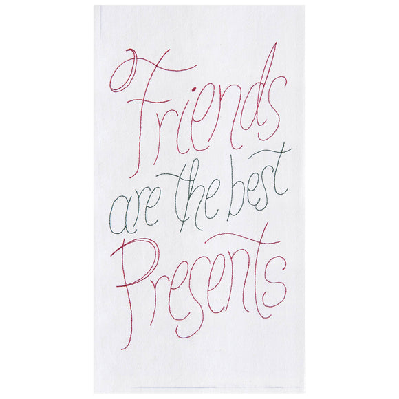 Friends Presents Embroidered Flour Sack Towel