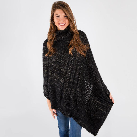 Black With Gold Metallic Poncho - Pink Julep Boutique