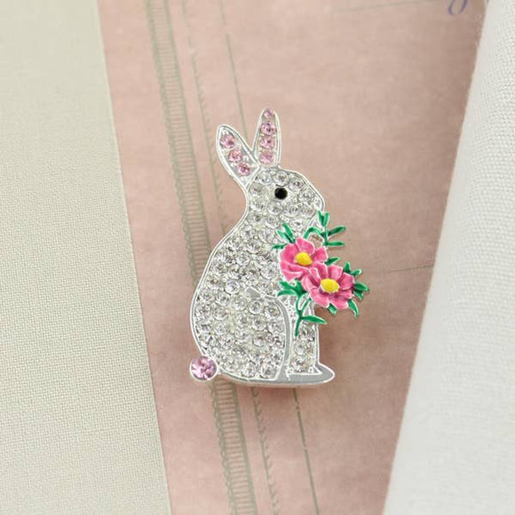 Crystal Bunny With Flowers Pin/Pendant - Pink Julep Boutique