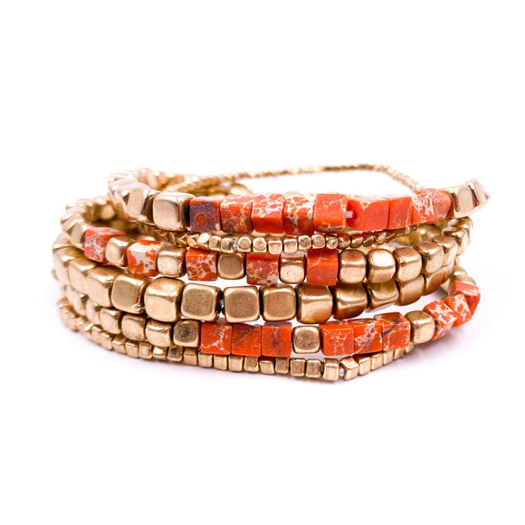 Stoney Bracelet Set - Orange