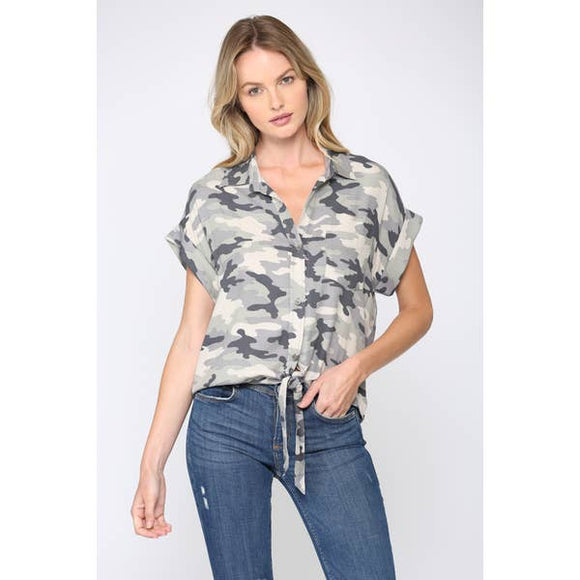 Camo Printed Tie Front Crop Top