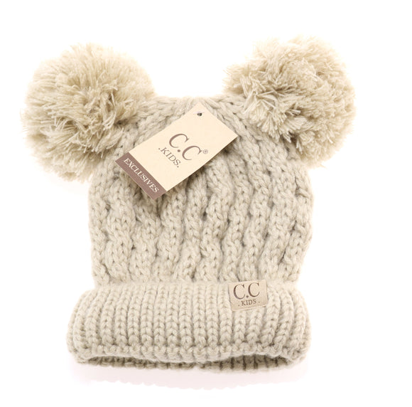 CC Kid's Double Pom Beanie in Beige - Pink Julep Boutique
