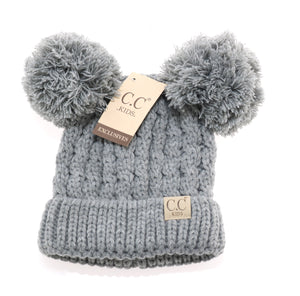 CC Kid's Double Pom Beanie in Grey - Pink Julep Boutique