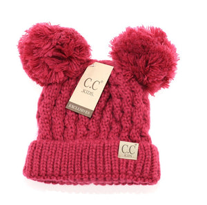 CC Kid's Double Pom Beanie in Hot Pink - Pink Julep Boutique