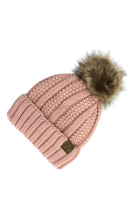 CC Kid's Knit Fur Pom Beanie in Indi Pink - Pink Julep Boutique