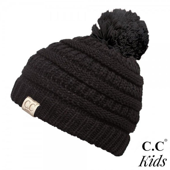 CC Kid's Pom Rib Beanie in Black - Pink Julep Boutique