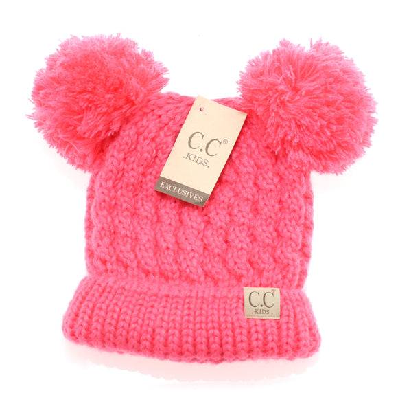 CC Kid's Double Pom Beanie in New Candy Pink - Pink Julep Boutique