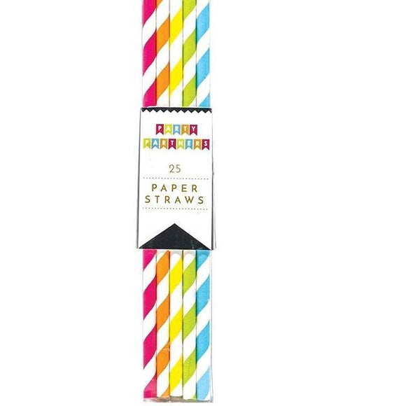 Colorful Striped Paper Straws - Pink Julep Boutique