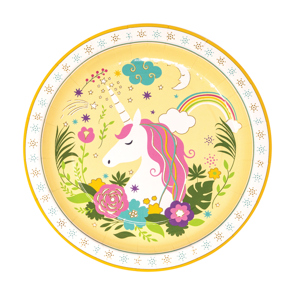 Colorful Unicorn Dessert Plates