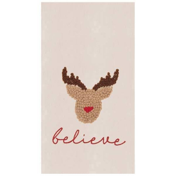 Believe In Reindeer Hand Tied French Knot Flour Sack Towel