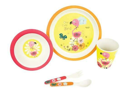 Bamboo Fibre 5-pc. Flamingo Kid's Dinnerware Set - Pink Julep Boutique
