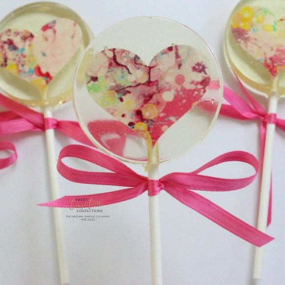 Watercolor Heart Lollipop in Strawberry Flavor
