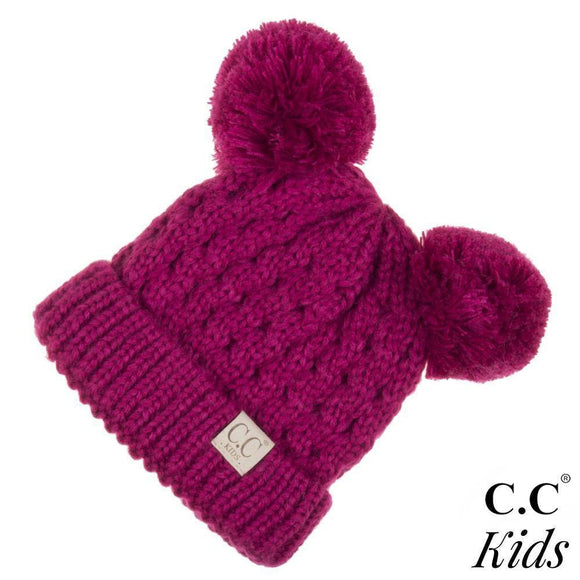 C.C Kids Ribbed Knit Double Pom Beanie- Hot Pink