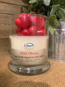 Wild Cherry Soy Candle topped with Wax Melts - Pink Julep Boutique