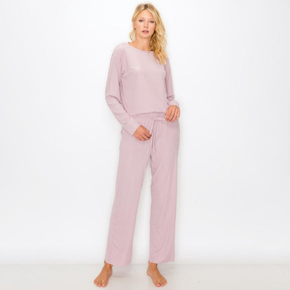 Lilac Women's Jersey Ribbed Loungewear Set Featuring Pockets