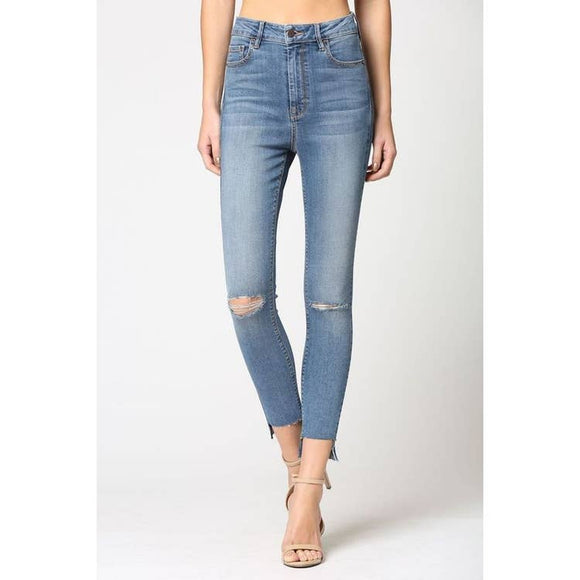 Medium Wash Slit Knee Step Hem High Rise Skinny Jean