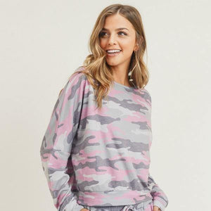 Relaxed Fit Vintage Pink Camouflage Top