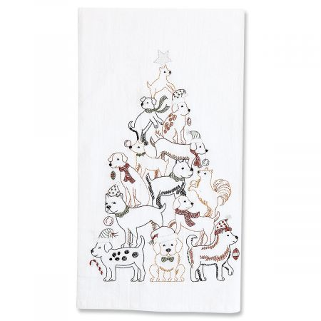Puppy Tree Embroidered Flour Sack Kitchen Towel