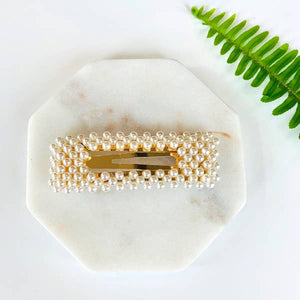 Rectangle Pearl Barrette Clip - Pink Julep Boutique