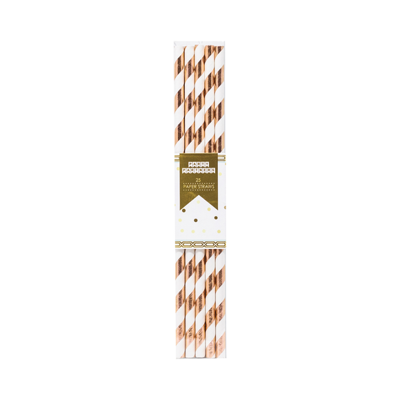 Rose Gold Striped Paper Straws