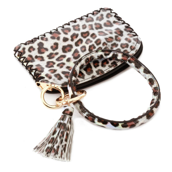 Shiny Metallic Leopard Print Coin & Card Wallet Tassel Key Ring