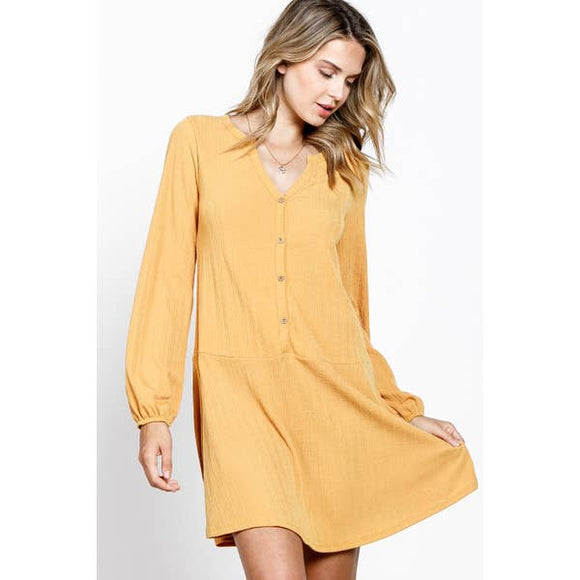Rib Button Down Flare Hem Knit Dress