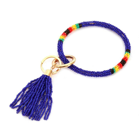 Beaded Tassel Key Ring - Pink Julep Boutique