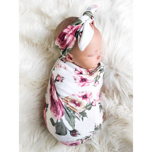 White Floral Swaddle + Headband Set - Pink Julep Boutique