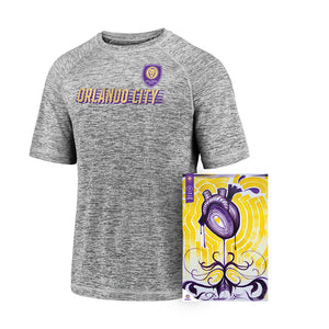 Men's Tee & Poster Bundle- Men's Fanatics Branded 2020 Bold Stencil Performance Tee Gray & Team Poster