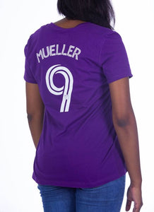 Women's Name & Number Mueller T-Shirt- Purple