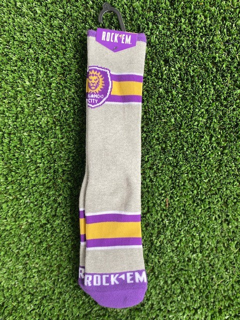 RockEm Varsity Stripe Sock (Youth/L-XL)- Grey