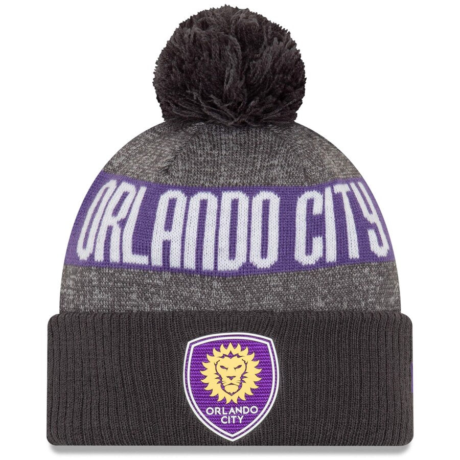 Men's Orlando City SC New Era Gray/Charcoal On-Field Cuffed Knit Hat with Pom