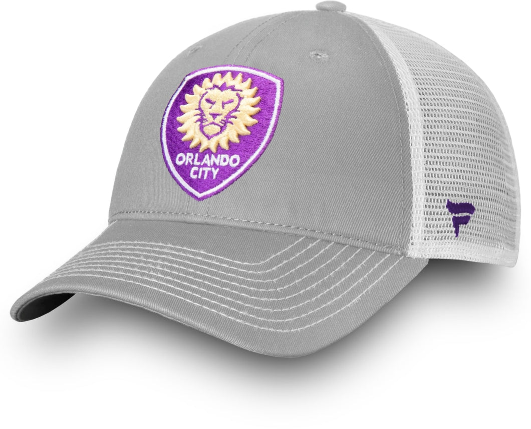 Orlando City Mesh Back Trucker Adjustable Hat- Grey