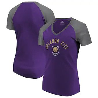Orlando City SC Fanatics Branded Women's Iconic Paid our Dues Raglan V-Neck T-Shirt - Purple/Gray