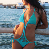 Turquoise Crochet monokini One piece swimsuit