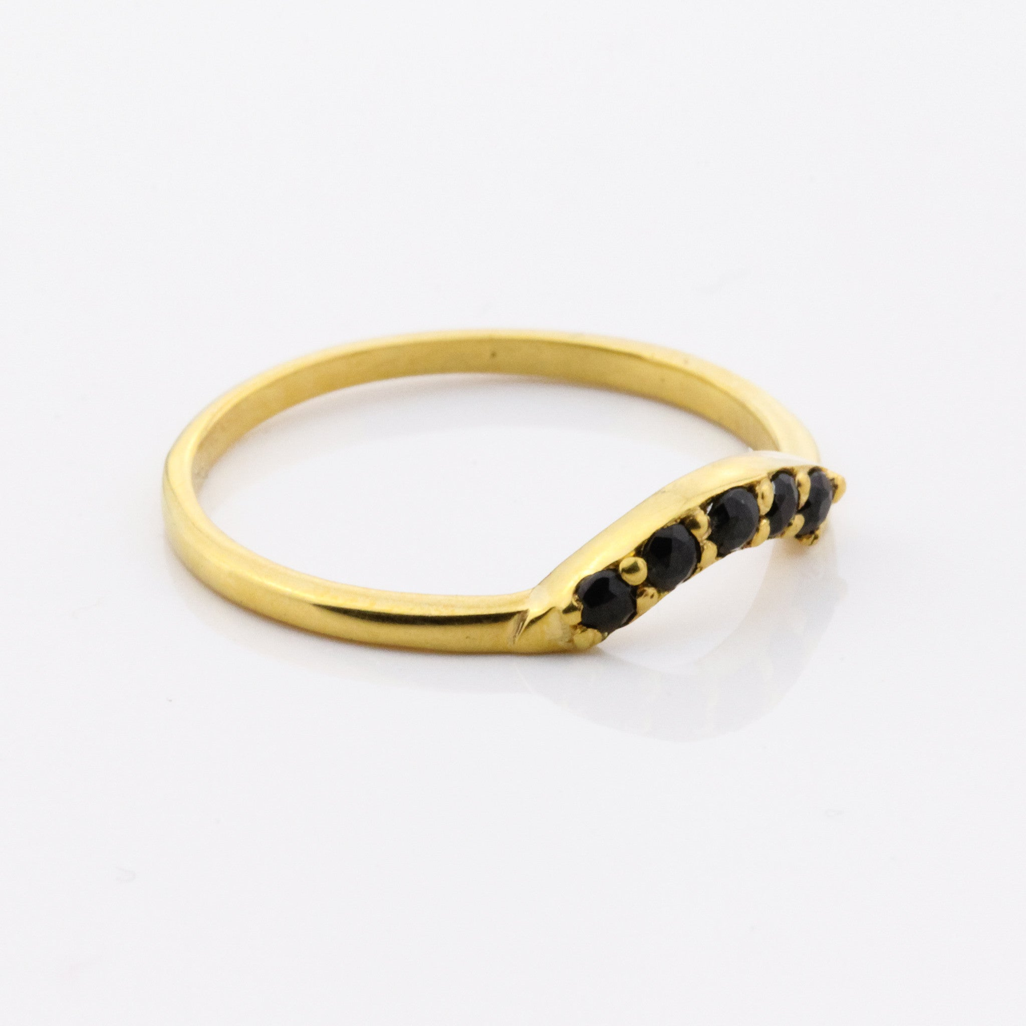 5 Stone Arch Ring - Black Quartz and Yellow Gold