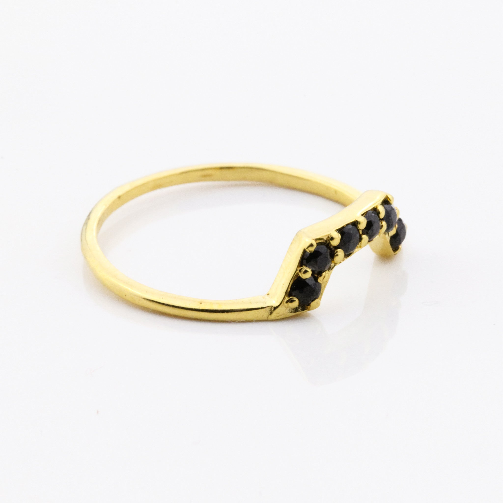 6 Stone Half Hexi Ring - Black Quartz and Yellow Gold