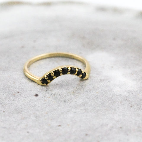 7 Stone Arch Ring - Black Quartz and Yellow Gold