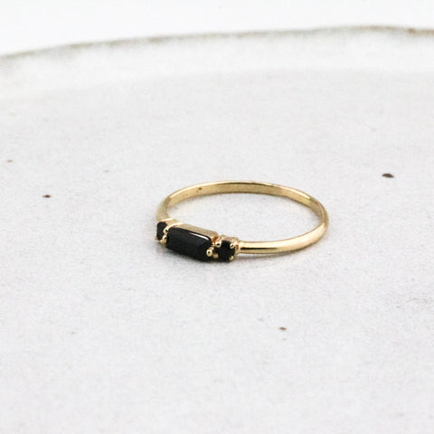 Elevation Ring - Yellow Gold and Black Quartz