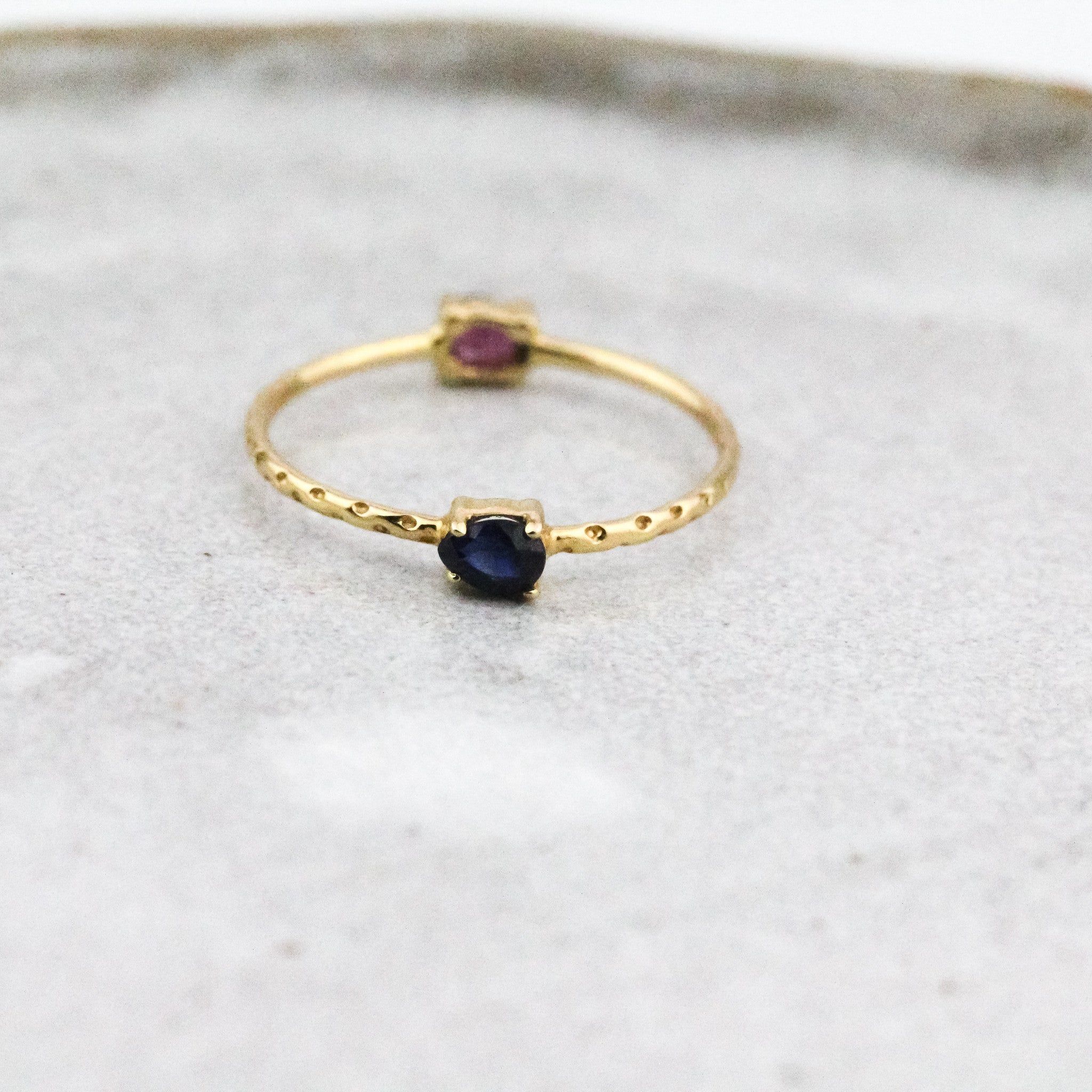 Double Gem Flip Ring - Blue Sapphire & Ruby