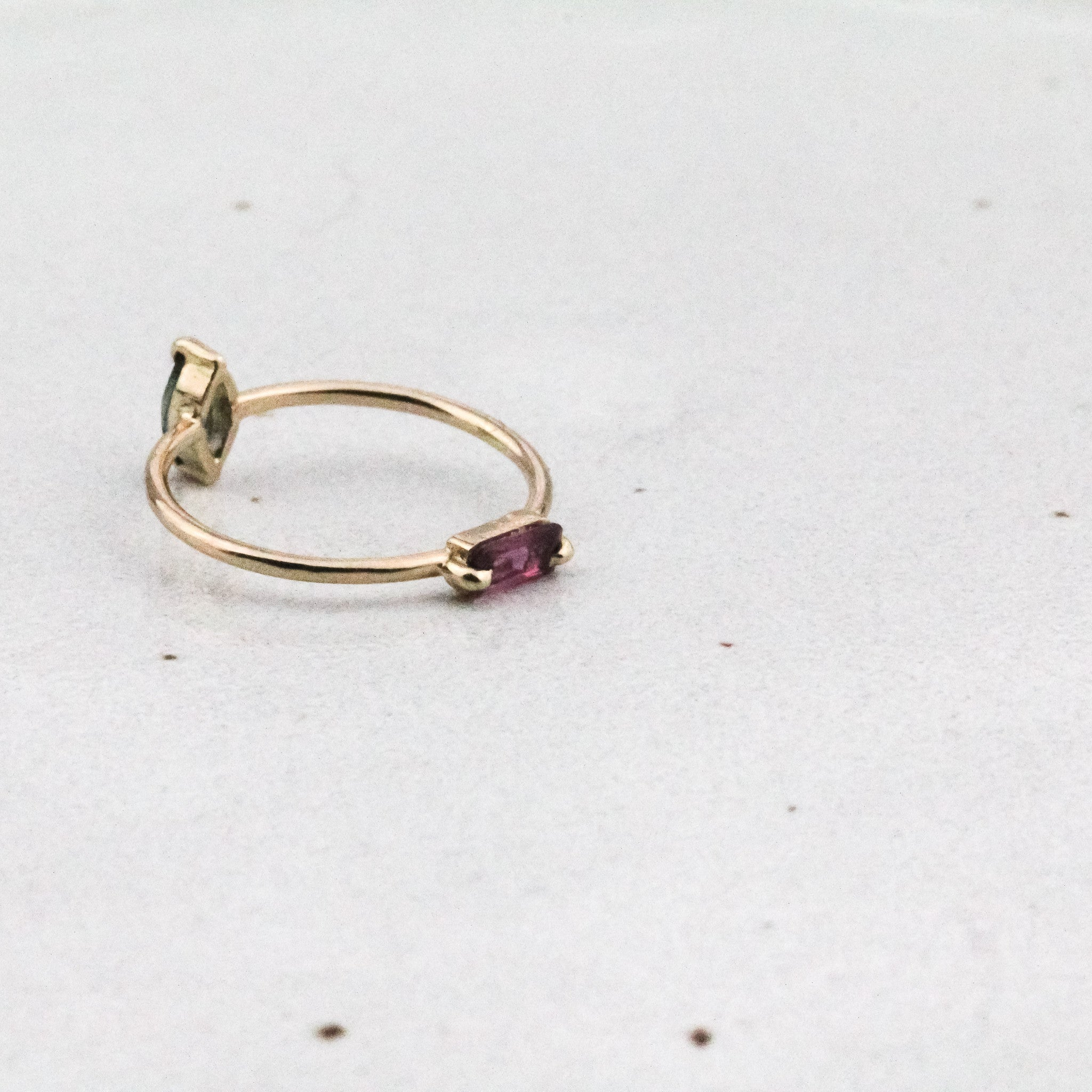Double Gem Flip Ring - Ruby Marquise & Blue Green Tourmaline Baguette