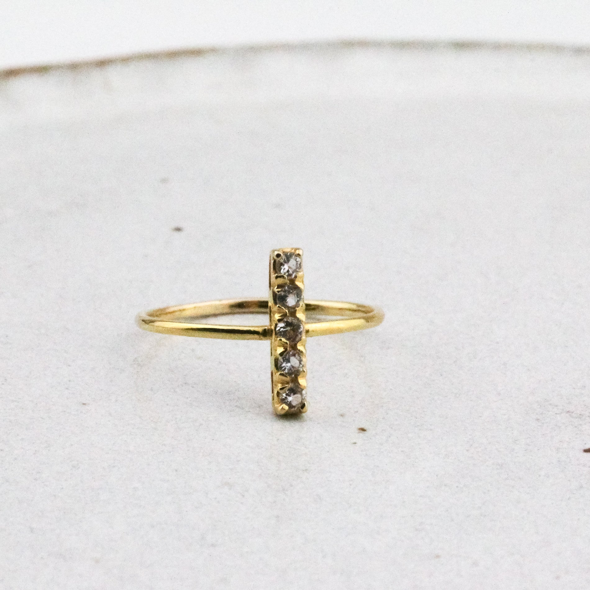 Pave Bar Ring - Zircon & Yellow Gold