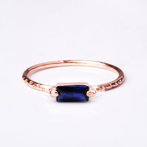 Step Rose Gold Ring - Blue Sapphire