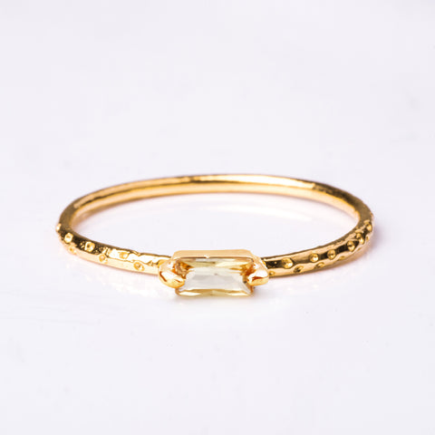 Step Gold Ring - Yellow Sapphire