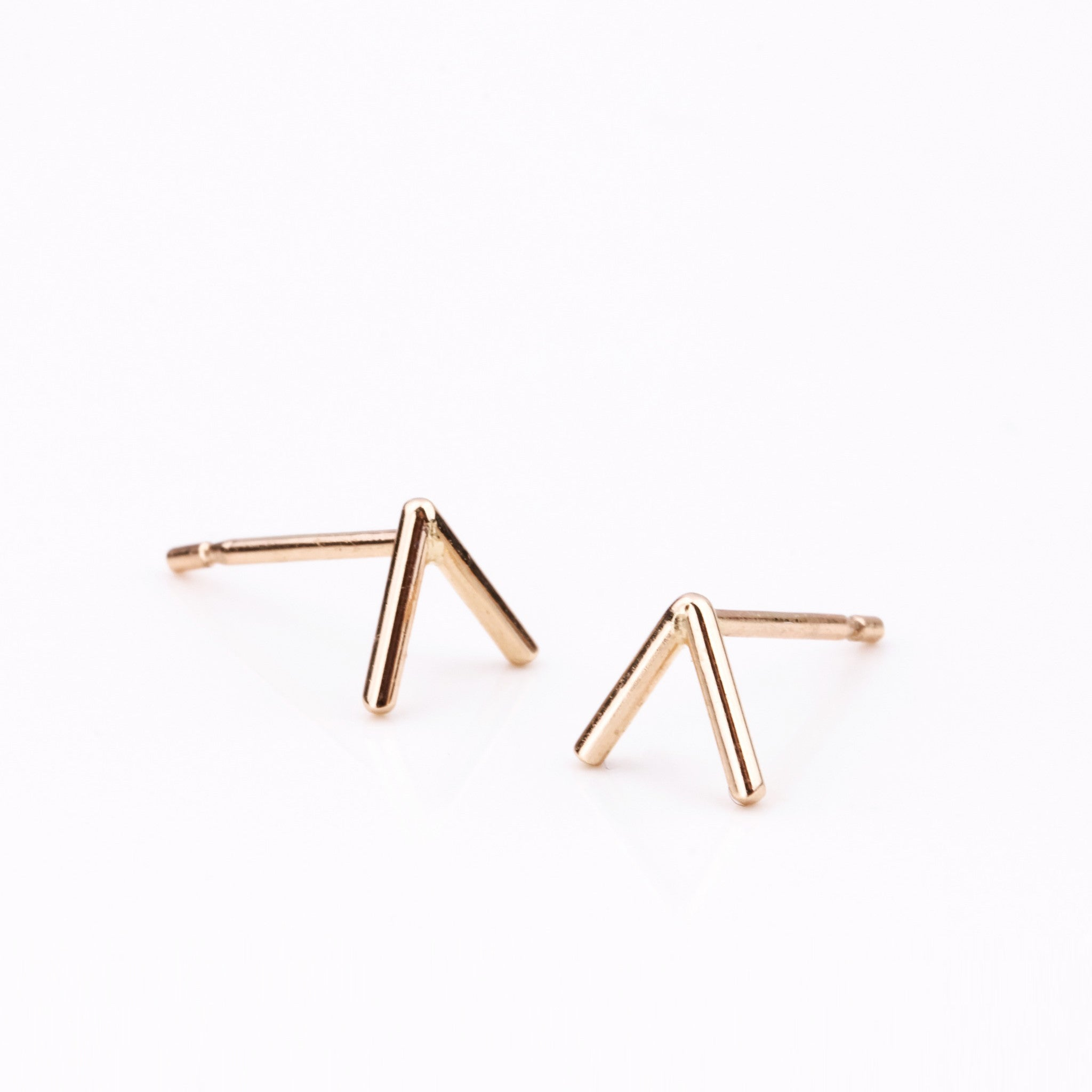 Tiny Temple Stud Gold Earrings